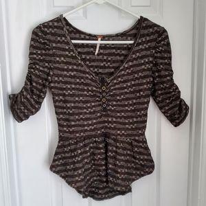 Free People VEUC Cute Striped Brown/ Tan T-Shirt